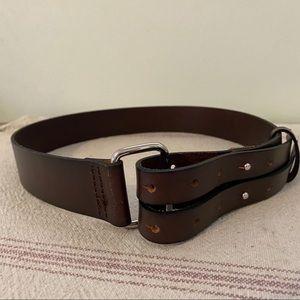 Banana Republic Brown Double Buckle Leather Belt